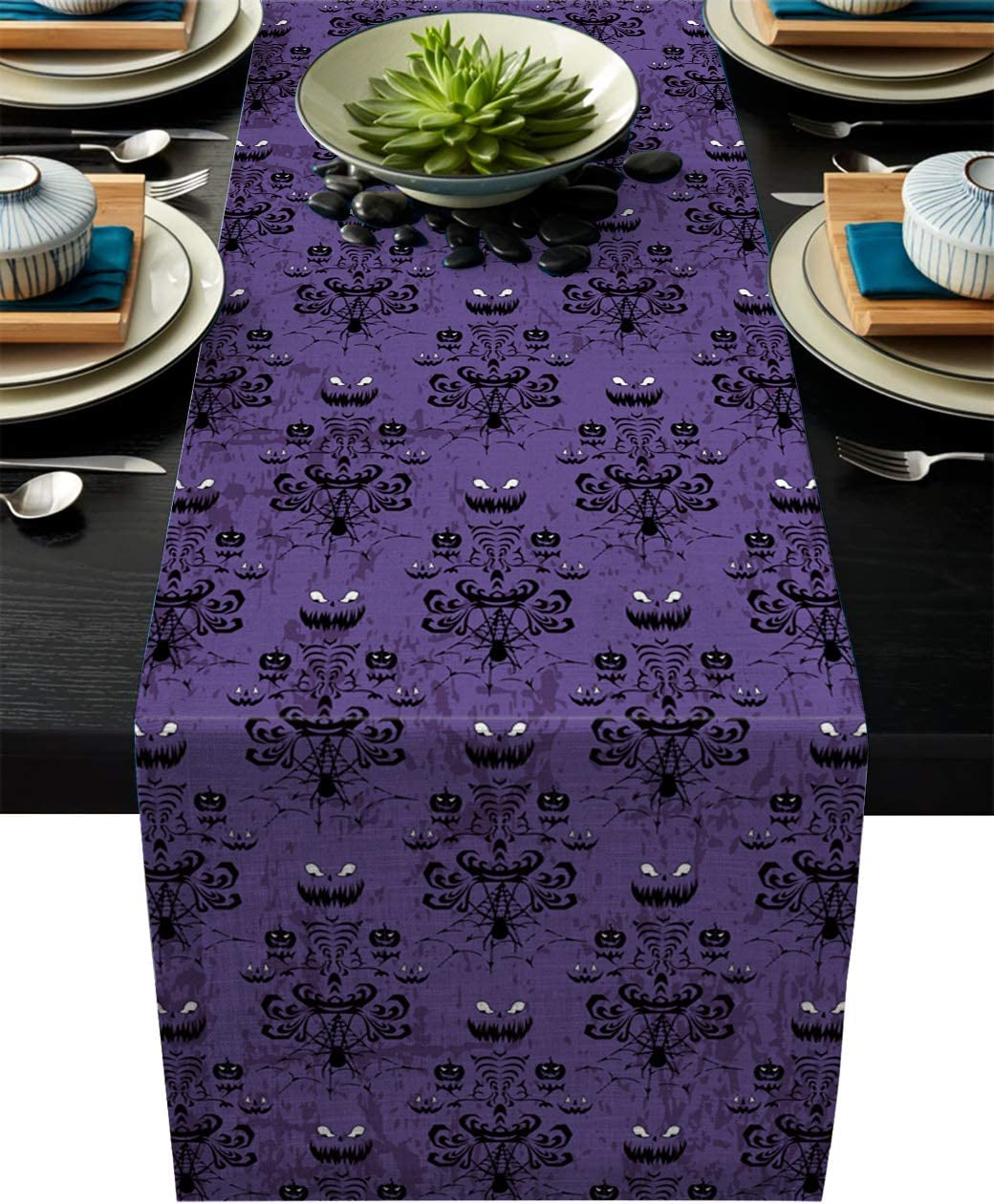Halloween Burlap Table Runner 70 Inches Long,Halloween Decor Ghost Face Purple Pattern Linen Dinner Table Setting Decor for Wedding Gatherings Party Baby Shower