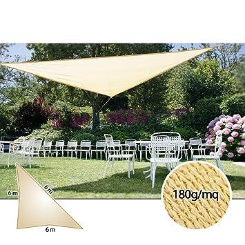 Kit Voile d\'Ombrage Triangulaire Sable (6 x 6 x 6 mt) - Taud de ...