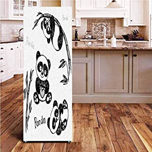 Angel-LJH Arrow 3D Door Fridge DIY Stickers,Cheerful Panda Different Poses with Bamboo Branch Children Painting Art Print Door Cover Refrigerator Stickers for Home Gift Souvenir,24x70
