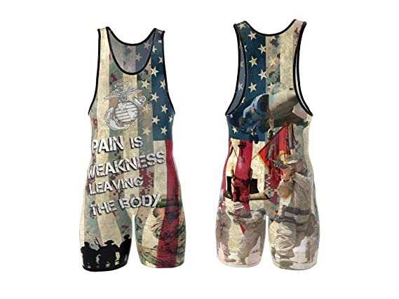 4 Time All American Marines Sublimated Wrestling Singlet Size XL