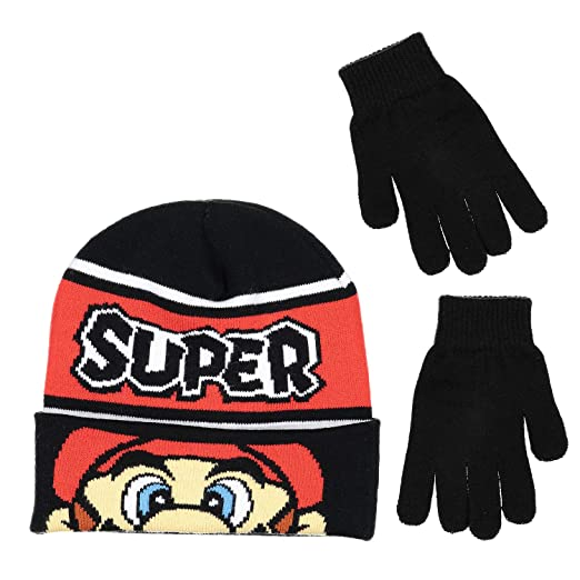 f3ab774b1a3d5 Image Unavailable. Image not available for. Color  Nintendo Super Mario  Boys Beanie Winter Hat and Glove Set ...