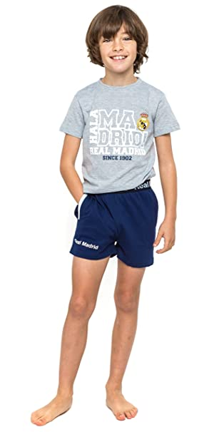 Pijama Real Madrid Infantil + REGALO Bolígrafo del Madrid (4, Gris)