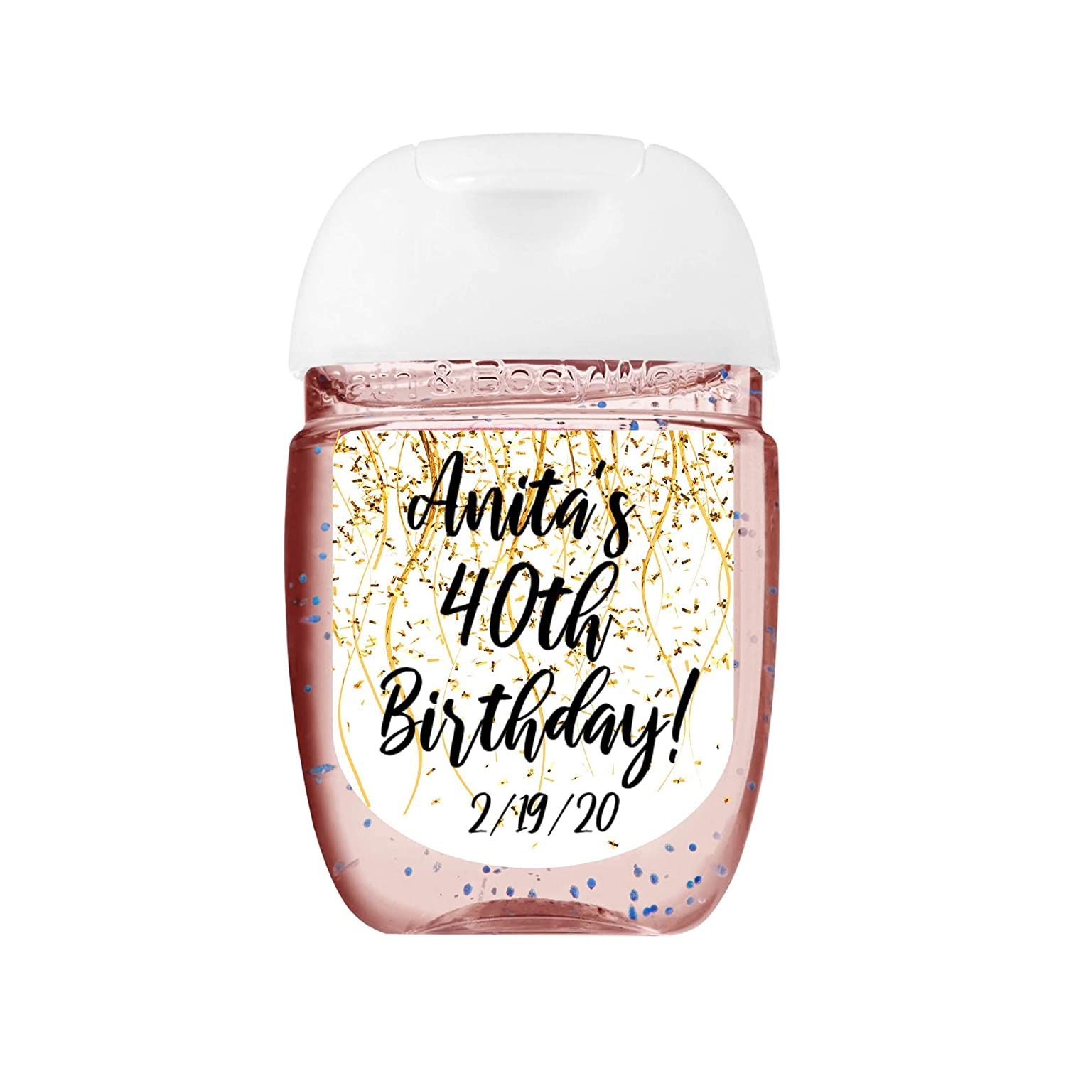 Sweet 16 Confetti Black and Silver Custom Hand Sanitizer Labels
