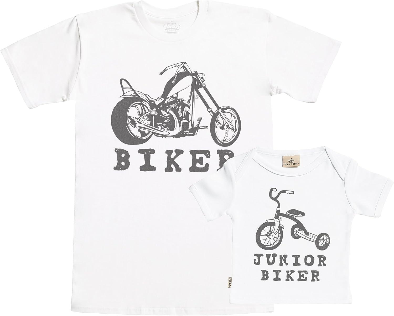 SR Biker /& Junior Biker Set zur Geburt Vater T-Shirt und Baby T-Shirt in Geschenkbox Vater Baby Geschenkset in Geschenkbox