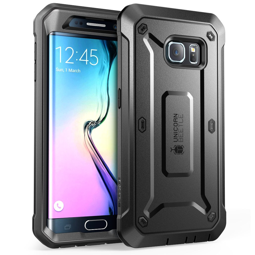 Supcase Unicorn Beetle PRO Series Full-body Rugged Holster Case with out Built-in Screen Protector for Samsung Galaxy S6 Edge (2015 Release) - Retail Package - Black/Black by SUPCASE (Image #1)