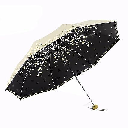 SFSYDDY-Paraguas Paraguas De Sol De Lluvia Y Tres Plegable ...