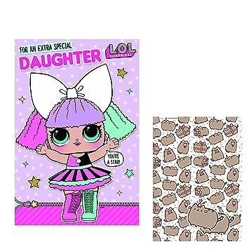 LOL Surprise Daughter Birthday Card Pusheen Gift Wrap Pack