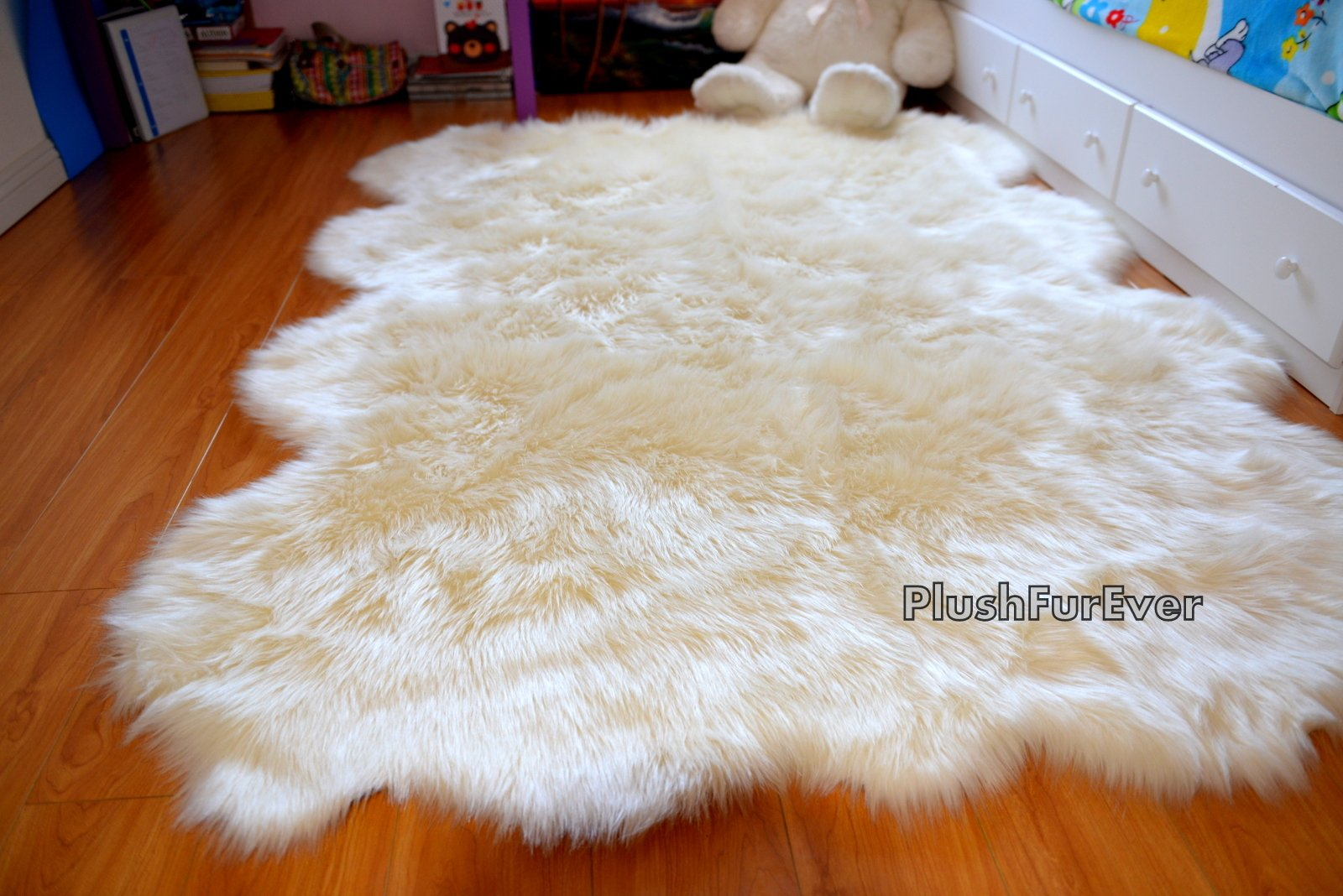 SC Love Collections Plush Sheepskin Octo Eight Pelts Warm White Shaggy Luxurious Home Accents Decor (5' x 7' feet) by Fur Accents (Image #3)