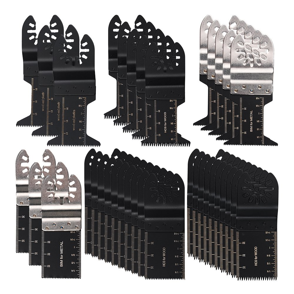 HIFROM 36PCS Universal Oscillating Ecut Multi Tool Saw Blade Fits for Fein Multimaster Makita Genesis Craftsman Nextec Ridgid Ryobi Makita Milwaukee Dewalt Chicago Stainley Skil King Task Multi Tools