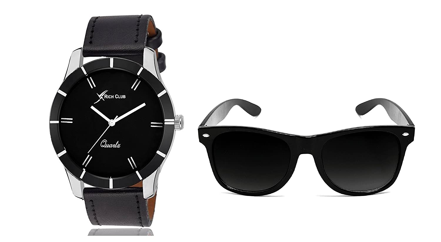 Casual Analog Black Watch And Wayfarer Sunglass combo set for men's and boy's