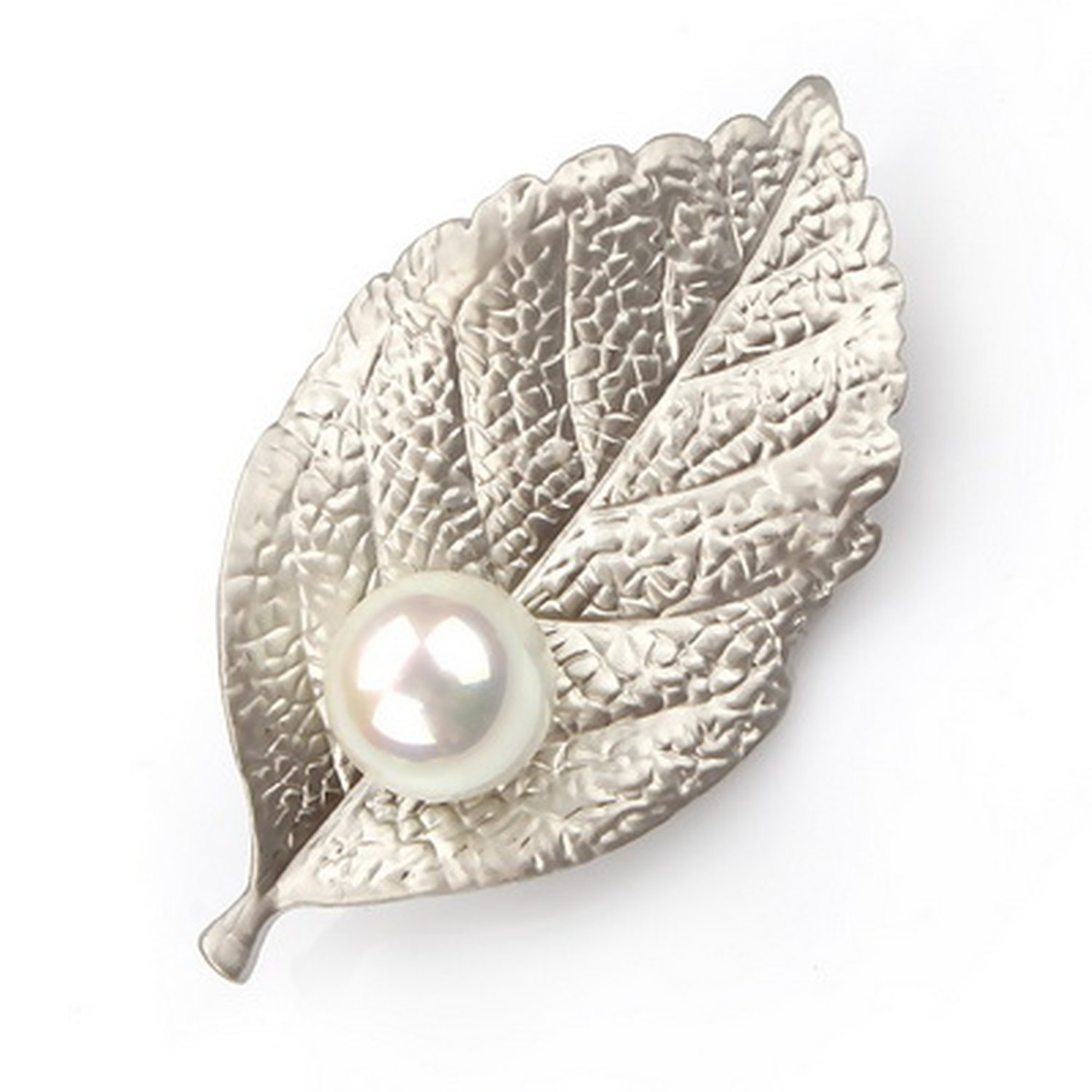 Baolustre Matt Silver Or Gold Color Leaf And Imitation Pearl Classic Brooch Wedding Party Gift,Matt Silver