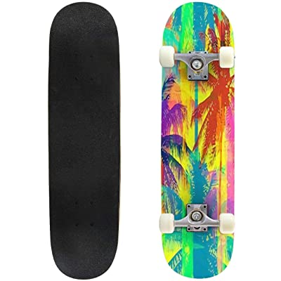 Classic Concave Skateboard Tropical Seamless Pattern Depicting Pink and Purple Palm Trees with Longboard Maple Deck Extreme Sports and Outdoors Double Kick Trick for Beginners and Professionals : Sports & Outdoors