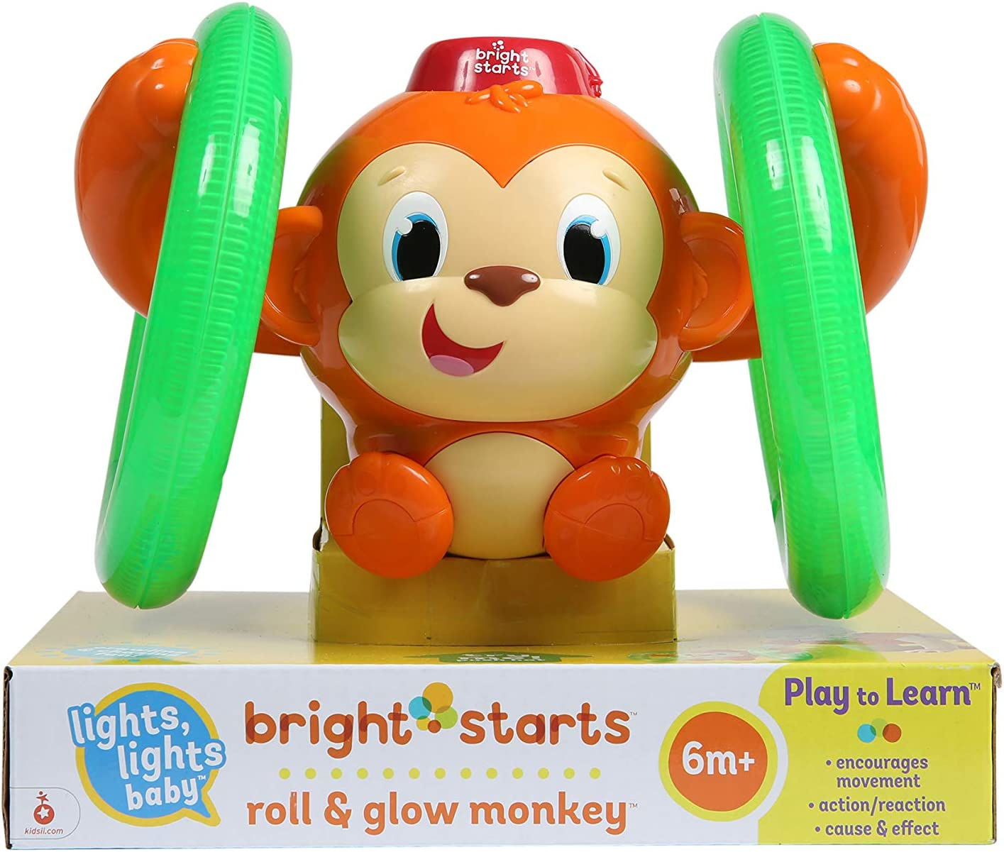 Bright Starts 52181 - Juguete mono con luces Roll & Glow Monkey: Bright Starts: Amazon.es: Bebé