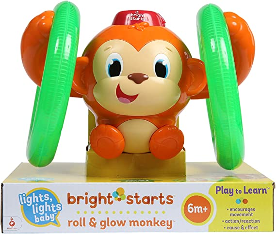 Bright Starts 52181 - Juguete mono con luces Roll & Glow Monkey ...