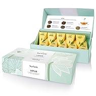 Tea Forte Lotus Petite Presentation Box with 10 Handcrafted Pyramid Tea Infusers, Black Tea, Green Tea, Oolong Tea, White Tea, Herbal Tea