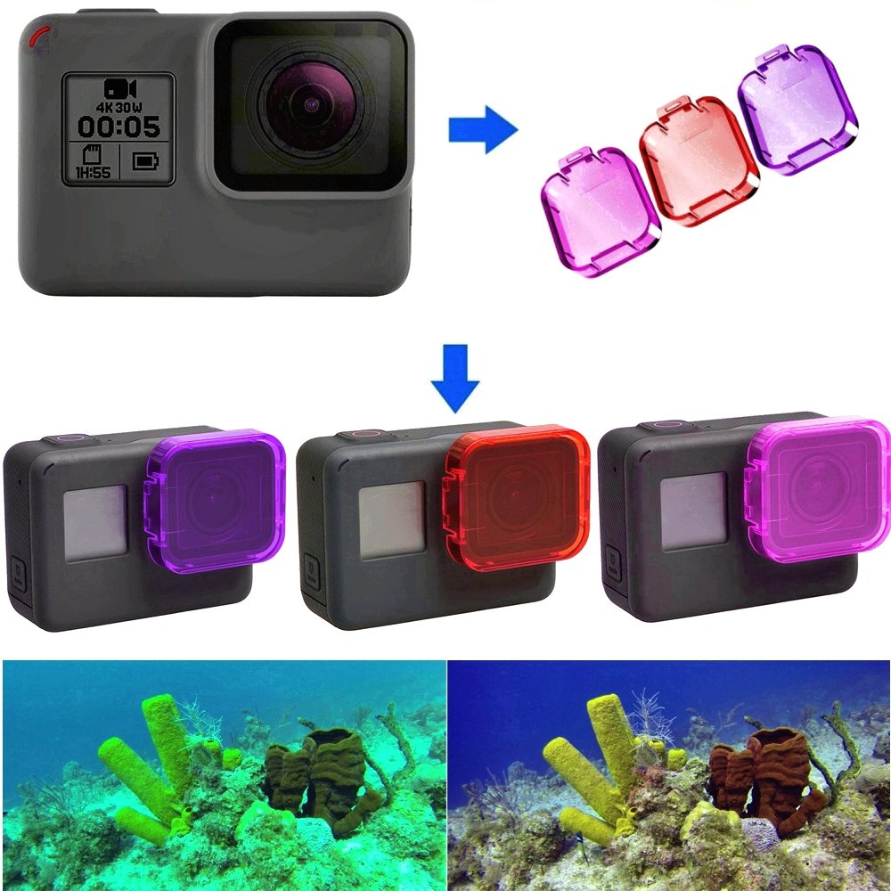 3 Pack Gopro Dive Filter for Hero 5, Hero 6 and Hero 2018 (Without case to a Depth of 30 ft) - Red Filter, Pink and Magenta - Enhancing Colors for Various Underwater Video and Photography Conditions