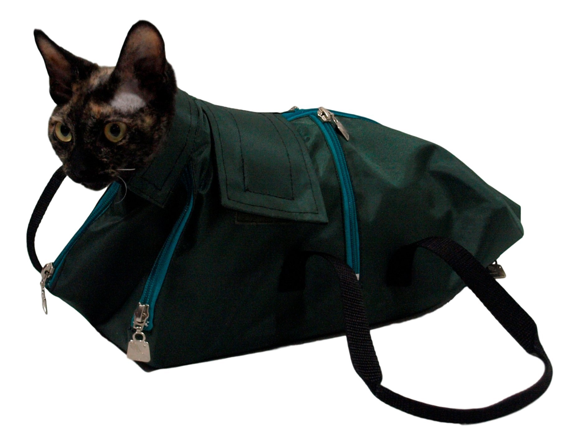 After Surgery Wear Premium Cat Restraint Bag, Cat Grooming Bag, Cat Carrier Bag. Made in Europe Using The Fabrics. (Medium) by After Surgery Wear