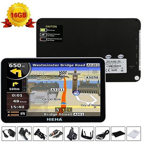 Hieha® - GPS 7 pulgadas para coche y caravana de 16 GB ...