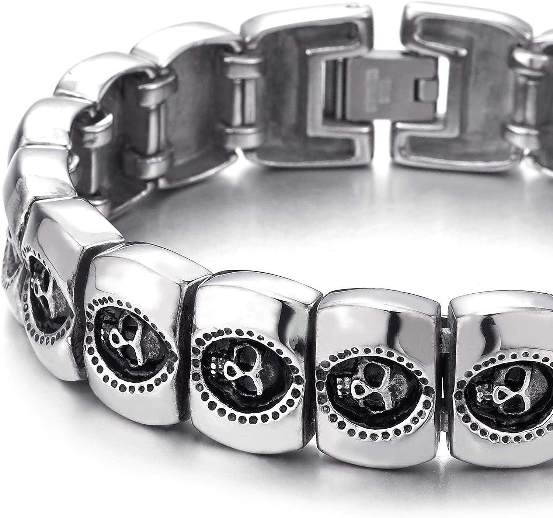 Men/'s Leather Twin Skull Bracelet Wristband Punk Goth Gift Bracelets Gold Black