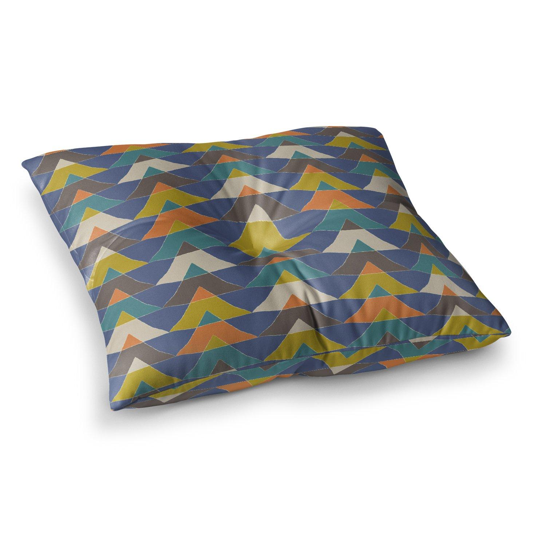 23 x 23 Square Floor Pillow Kess InHouse Julia Grifol Colorful Triangles Blue Multicolor