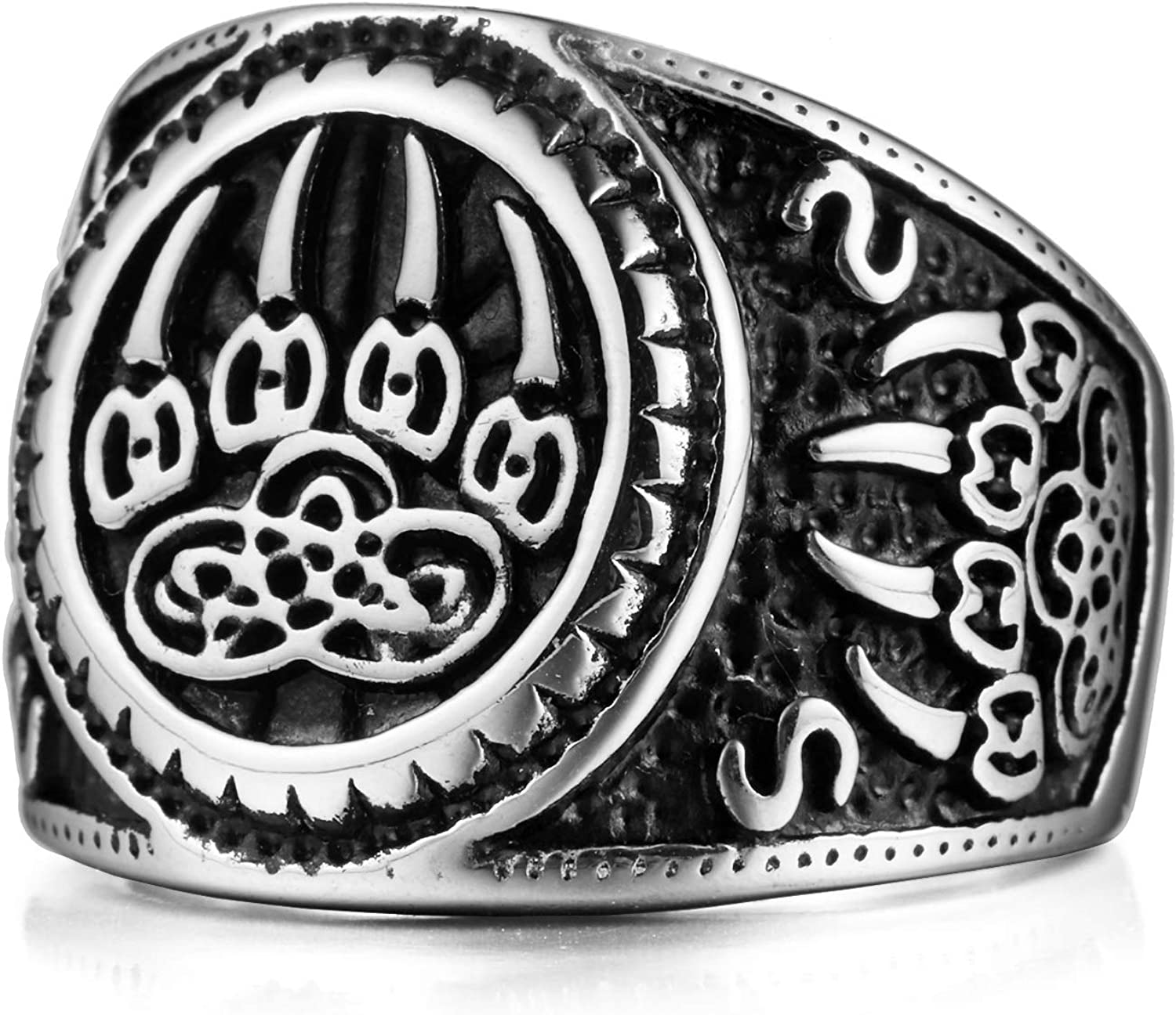 MENDINO Mens Native American Wolf Sign Stainless Steel Ring with a Beautiful Velvet Bag