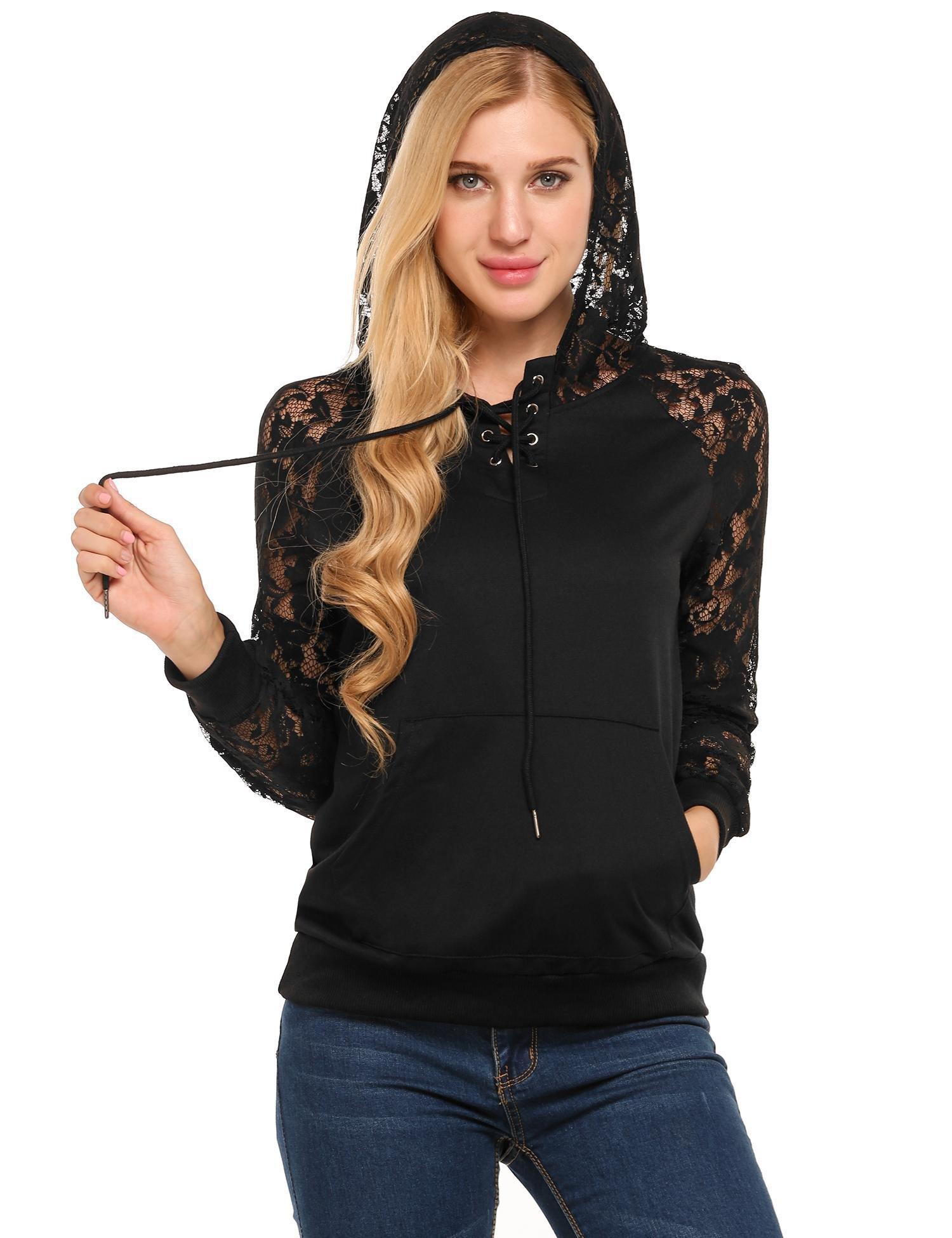 SoTeer Womens Active Slim Fit Lace Long Sleeve Hoodie Jacket Black XL