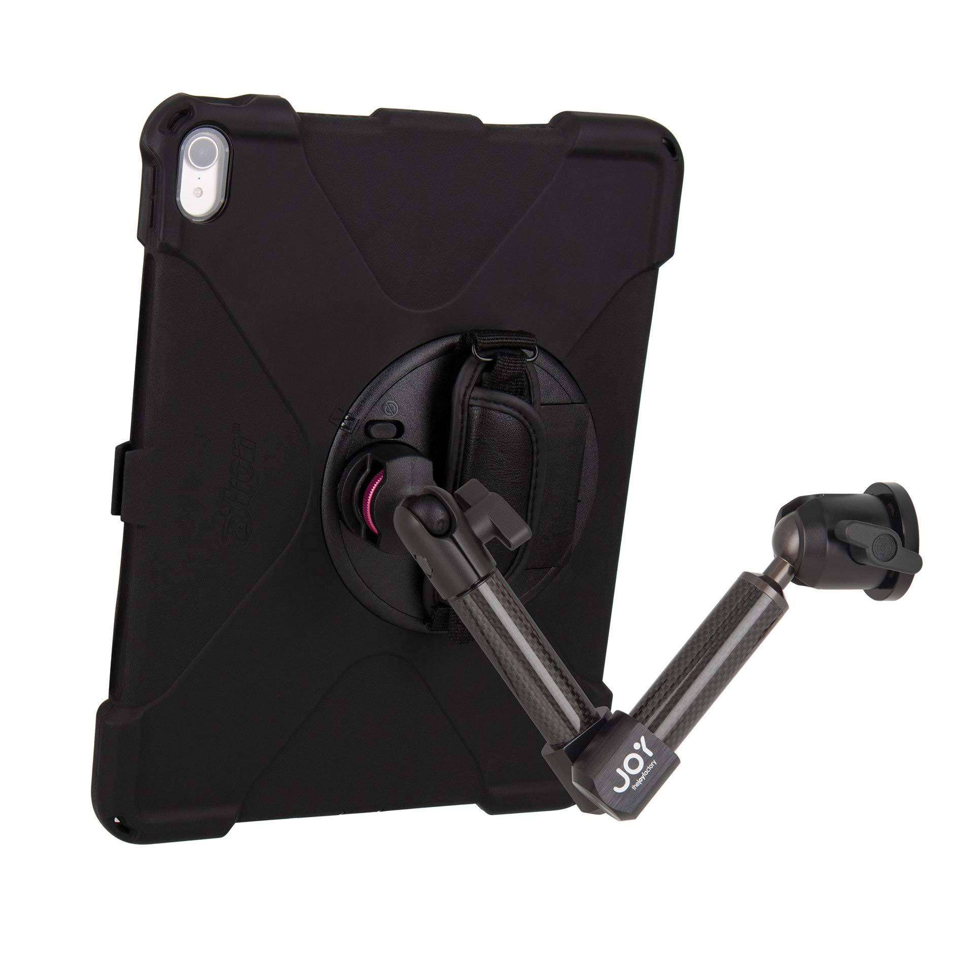 The Joy Factory MagConnect Carbon Fiber Wall/Counter Mount with aXtion Bold MP Water-Resistant Rugged Shockproof Case for iPad Pro 12.9'' [3rd Gen], Built-in Screen Protector, Hand Strap (MWA4104MP)