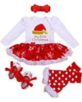 WINMI® Baby Girls' Newborn 1st Christmas Onesie Costume Outfits Tutu Dress 4PCs