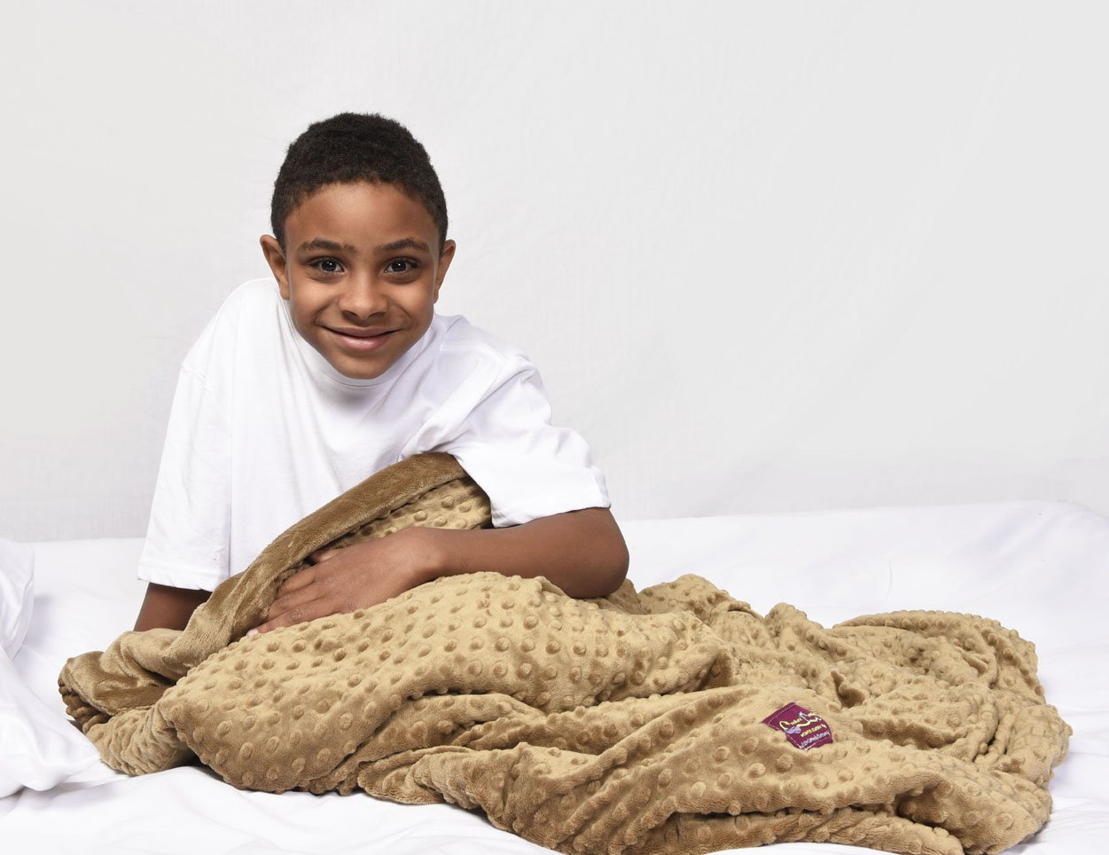 Creature Commforts Weighted Blanket - Large 12 lbs 35'' x 50'' for kids, adults - Removable cover, soft minky duvet, organic insert - Heavy sensory blanket made in USA - Tan