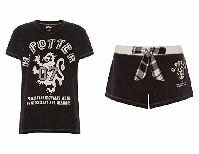 Harry Potter pijama pantalones cortos y camiseta de manga corta negro Harry Potter Black L