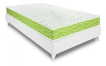 Bedland ▻ Colchón Viscoelástico Visco 3, Color Blanco y Verde (105cm x 190cm). Colchón básico para Uso Diario. ¡La Cama más económica!: Amazon.es: Hogar