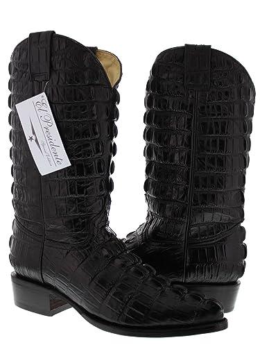 Men's Black Full Crocodile Tail Print Cowboy Boots J Toe