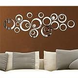 Mercurymall® Design Moderne élégant Fashion Art amovible DIY acrylique 3D Miroir Sticker mural Sticker mural pour chambre TV fond mur Décoration de la Maison, Silver Big Circle