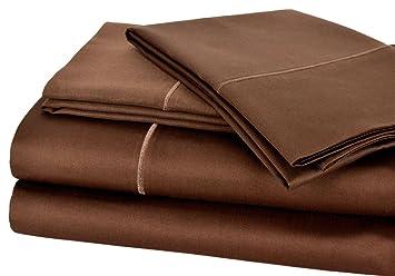 Impressions Superior - Juego de sábanas 183 x 213 cm, esquineras Profundas, 100% algodón de 600 Hilos, con Puntadas Bordadas, Color Moca: Amazon.es: Hogar