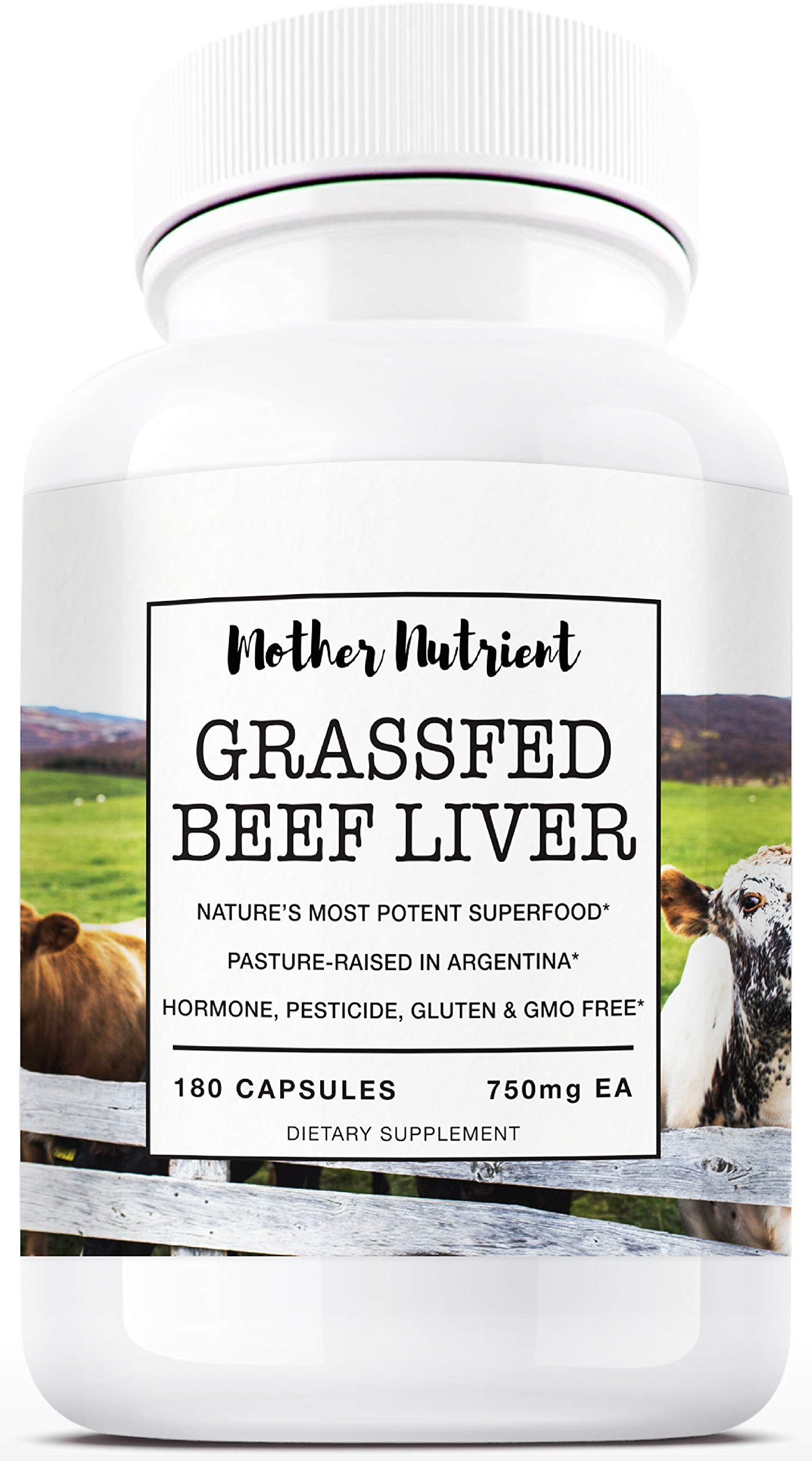 Grass Fed Beef Liver Capsules by Mother Nutrient | Desiccated Liver | Pasture Raised in Argentina | Supplement Rich in Vitamins A & B12, Iron, Protein | 180 Beef Liver Capsules, 45-Day Supply