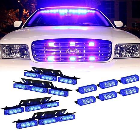 Vehicle Strobe Lights >> 36 X Led W 18 X Led Emergency Vehicle Strobe Lights For Front Grille Deck Warning Light 36 Led W 18 Led Blue