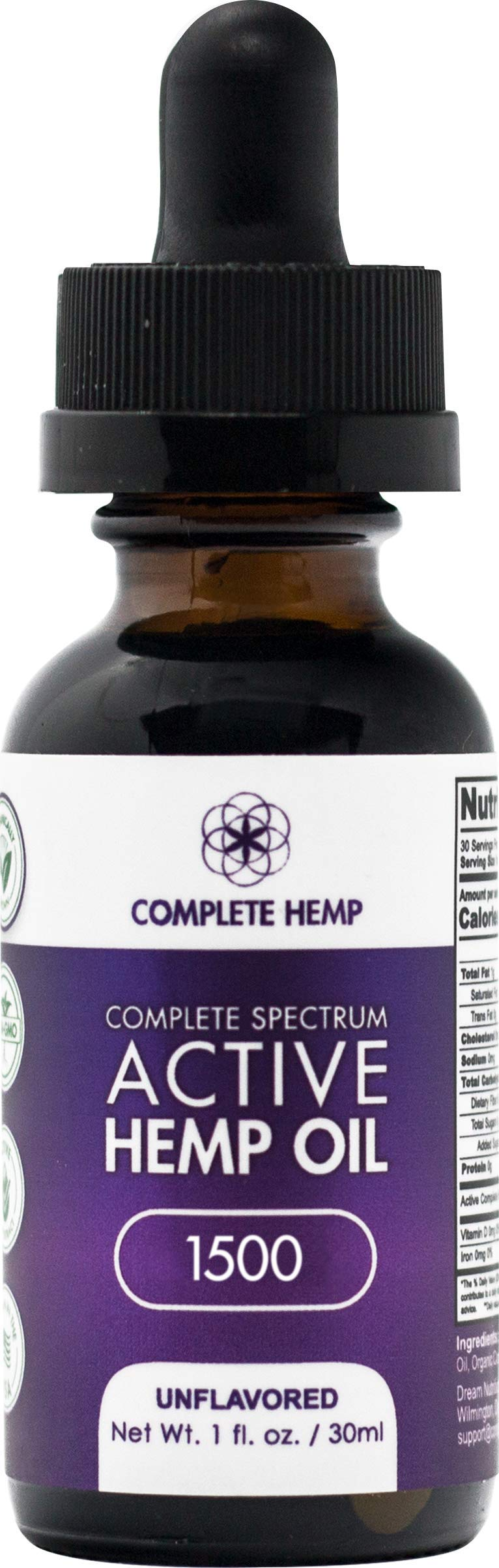 Complete Hemp Complete Spectrum Active Hemp Oil 1,500 | Organic and Clean | Can Support Stress, Anxiety, Inflammation, Pain and More | Super-Critical CO2 Hemp Extract | 3rd Party ISO Tested | 50mg/mL by Complete Hemp (Image #1)