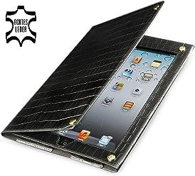 StilGut Prestige Edition, custodia in pelle stile croco per Apple iPad 2, nero