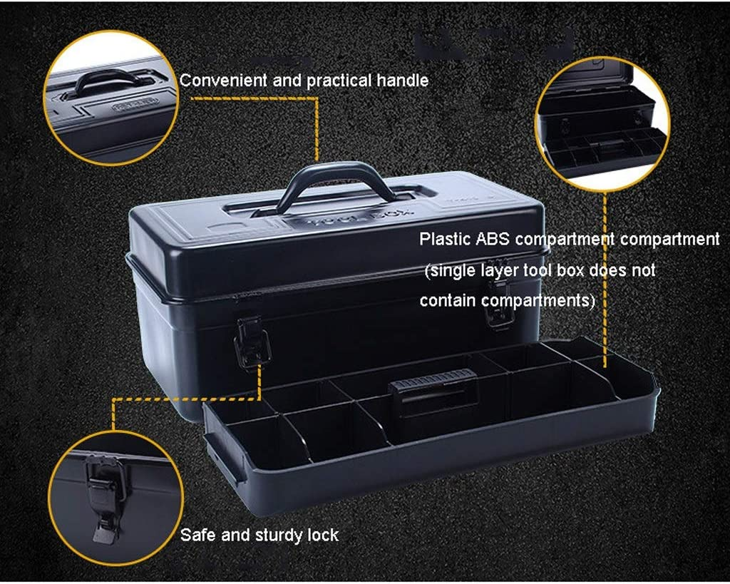 Tool Boxes Thick Metal Tool Box, Household Hardware Tool Box Portable Storage Box ,Multiple Sizes(Gloss Black) Toolbox (Color : Single layer-a) Single Layer-a