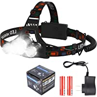 Lámpara de Cabeza, TXG lámpara de Cabeza USB Recargable, 4 Modos Linterna Frontal con 2 Baterías de Gran Frontal Lámpara…