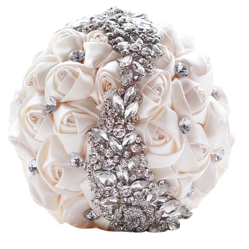 (D445 Cream) Jackcsale Romantic Wedding Bride Holding Bouquet Roses with Diamond Pearl Ribbon Valentine's Day Bouquet Confession (D445 cream) B01JFPKNS4 373 PP 373 PP