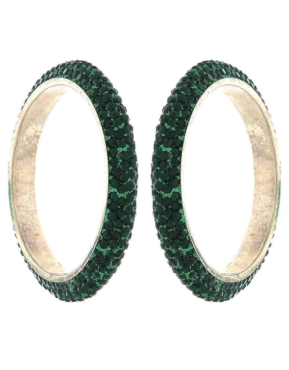 Anuradha Art Green Green Colour Adorable Stylish Ethnic Bangles Set for Women//Girls