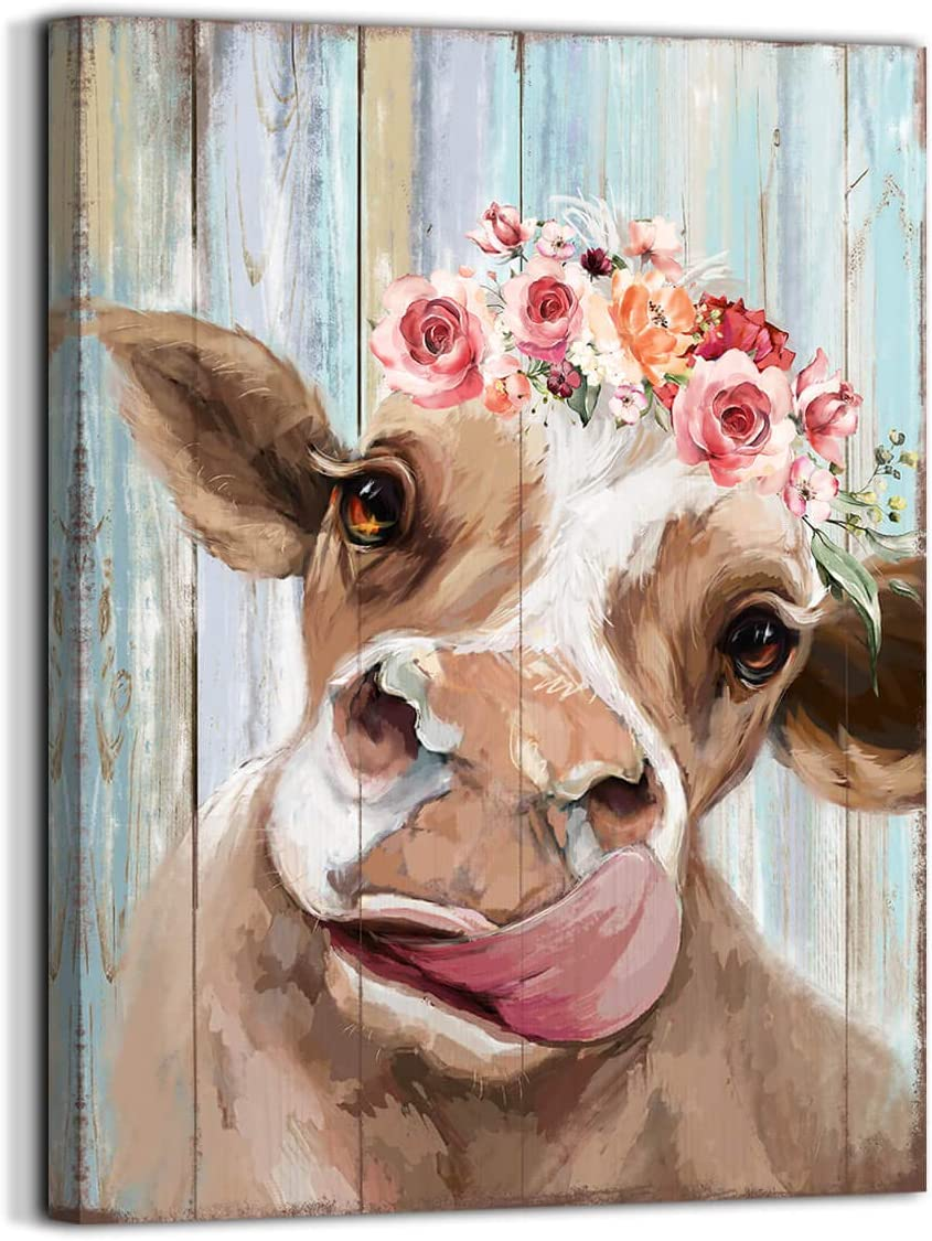 Country Farmhouse canvas printing Rustic Bedroom Decor retro style cow Vintage Wall Art for Dining Room Decor for the Home Cattle Decorate Canvas Print Placed in Home Bathroom Office Study fireplace kitchen Bedroom wall art rustic style retro funny cow with garland wooden background canvas printing hanging wall att(12x16, Cattle)