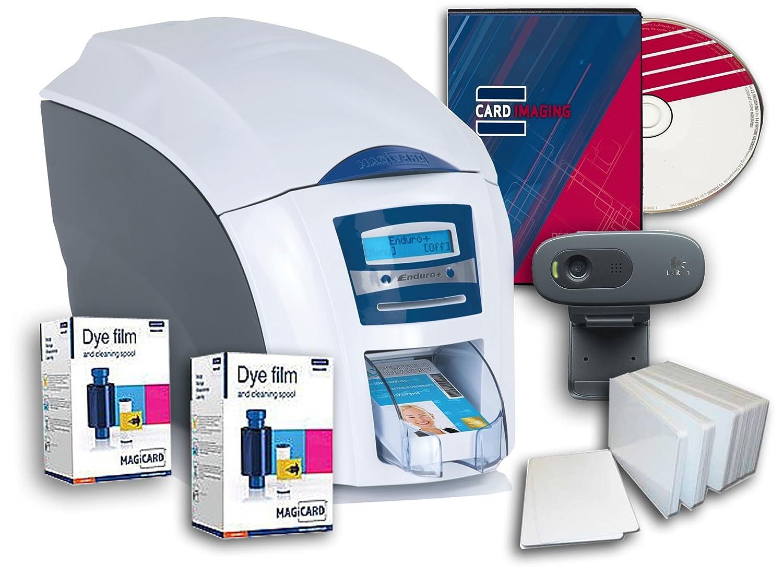 Magicard Enduro 3e Single-sided PVC Badge ID Card Printer & Supplies Bundle (3633-3001)