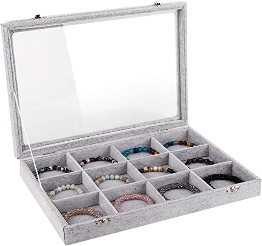 Emibele Jewelry Tray 12 Grids Jewelry Organizer With Lid Lock For Necklace Ring Earring Stud Bracelet Soft Velvet Jewelry Showcase Display Tray Grey Amazon Ca Home Kitchen