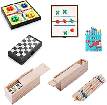 Partituki Pack Juegos de Mesa Familiares Incluye: Kit de 7 Ceras, Mini Juego de Parchís, Mini Juego de 3 en Raya, Mikado, Mini Juego de Damas y Dominó Infantil con Dibujos: Amazon.es: