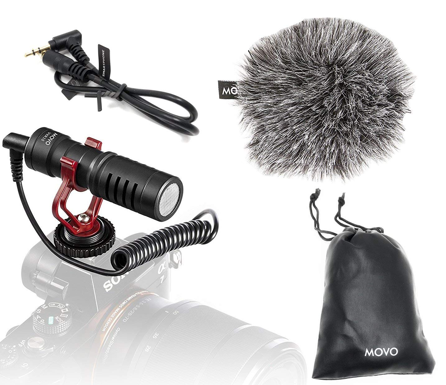 Movo VXR10 Universal Video Microphone with Shock Mount, Deadcat Windscreen, Case for iPhone, Android Smartphones, Canon EOS, Nikon DSLR Cameras and Camcorders by Movo