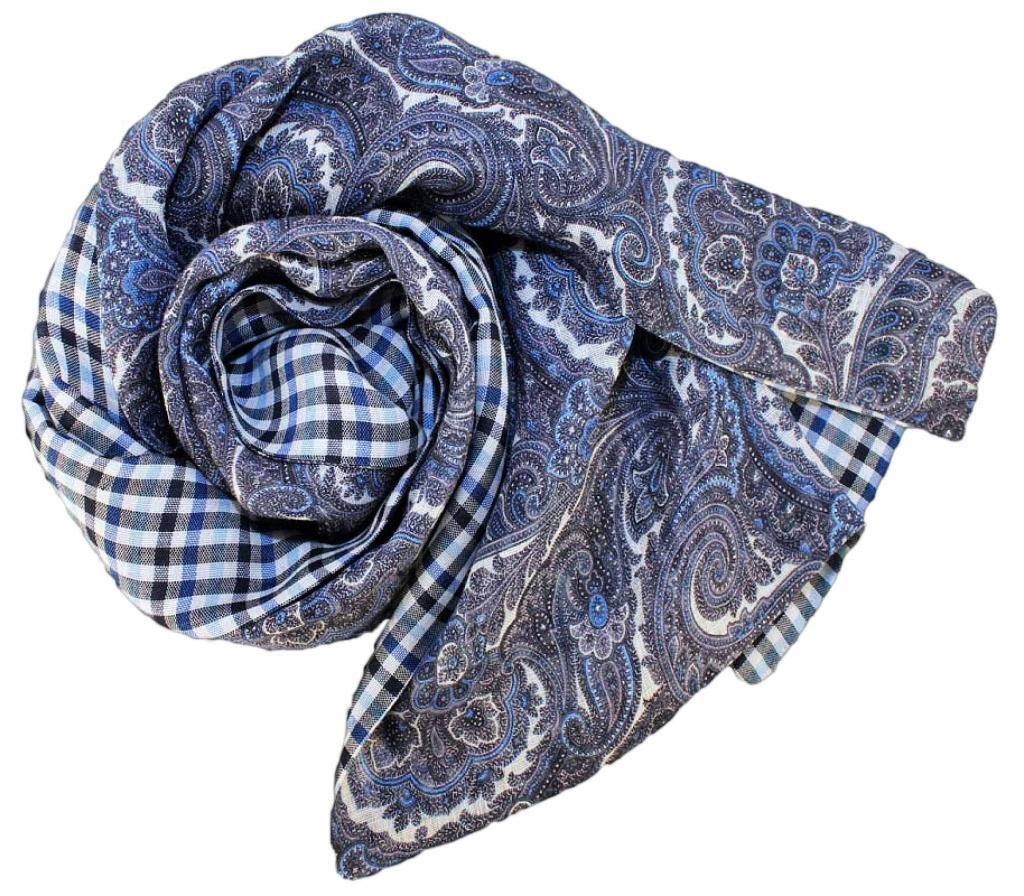 Stanley Lewis Men's Paisley & Check Blue Scarf by Stanley Lewis