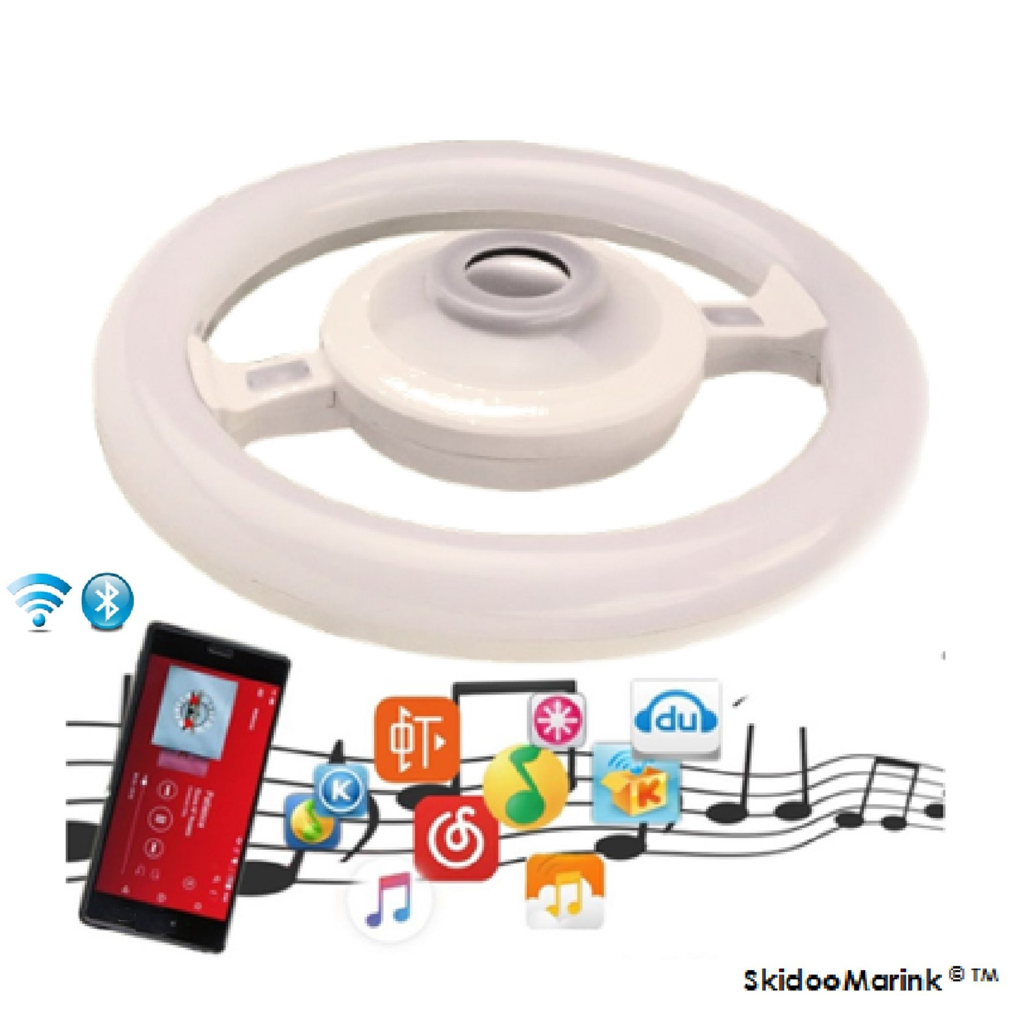 Bluetooth Living Room Ceiling Lights - LED Music Ceiling Light Fixtures Bluetooth Speakers Wireless Unique Music Color Changing Steering Wheel Round Shape Ring Light Bulb SkidooMarink