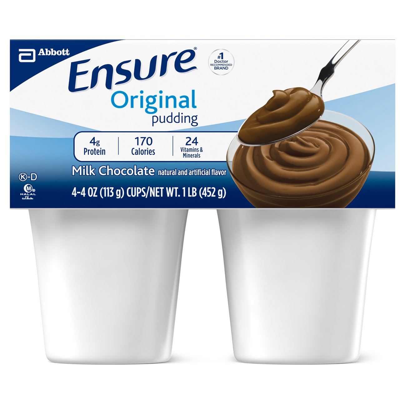 Ensure Pudding, Creamy Milk Chocolate, 4-Ounce Cup, 4 Count, (Pack of 12) by Ensure (Image #1)